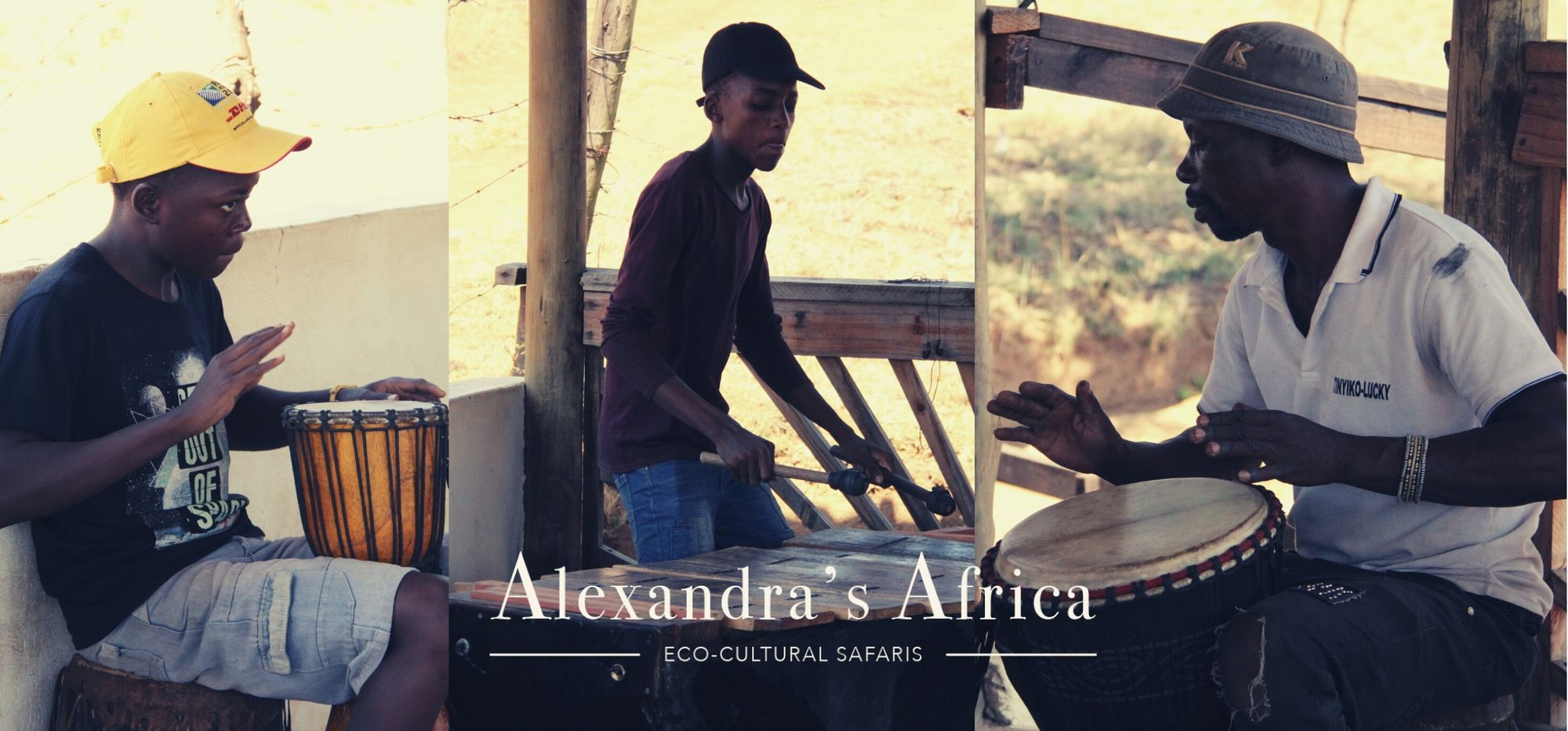 Lucky Ntimani sculptor and musician on Ribola Art Route with two members of his boy band playing for Alexandra's Africa guests