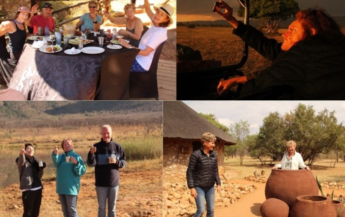 A mosaic of pictures of Alexandra's Africa guests having fun