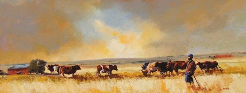African Horizons in oil - herdsman tending cattle