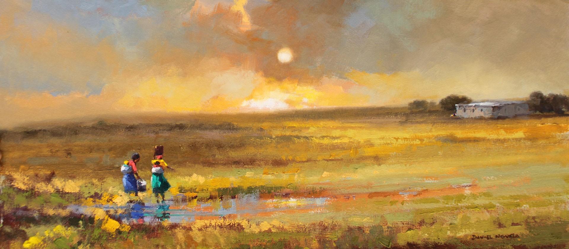 African horizons in oil - ladies fetching water
