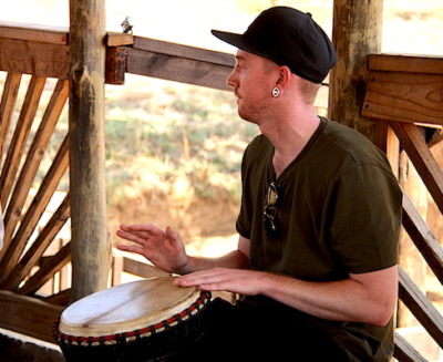AlexandrasAfrica Guest Andrew White joins jams along on African drum with Lucky Ntimani