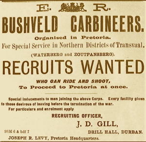 Advert for Bushveld Carbineers