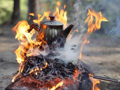 Kettle on the camp fire