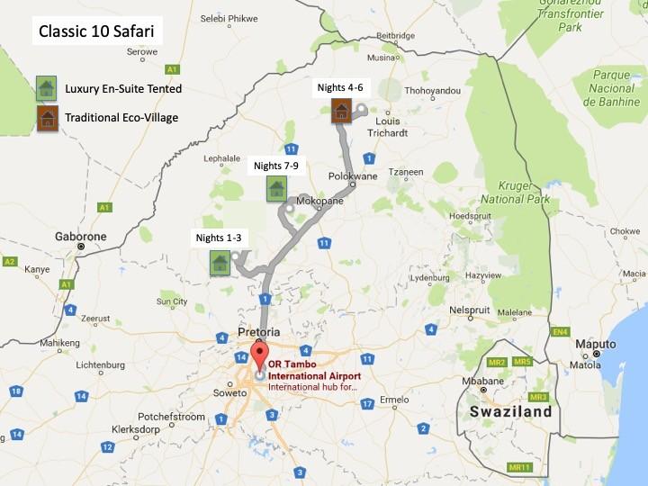 Alexandra's Africa Classic Safari Route Map