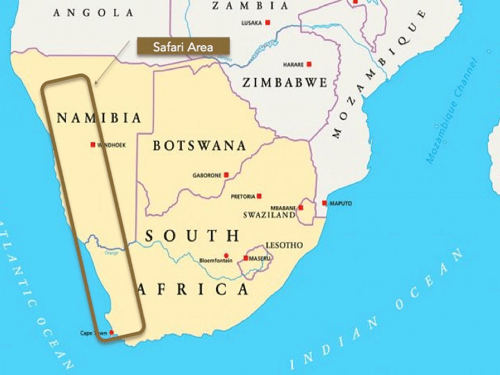 Map of Southern Africa showing area of Cape Town to Windhoek Safari