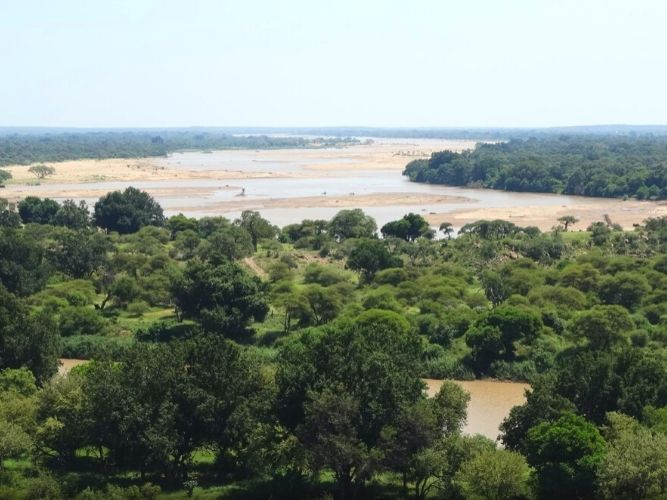The Limpopo River looking downstream meandering en route to Mozambique - picture taken from an elevated position