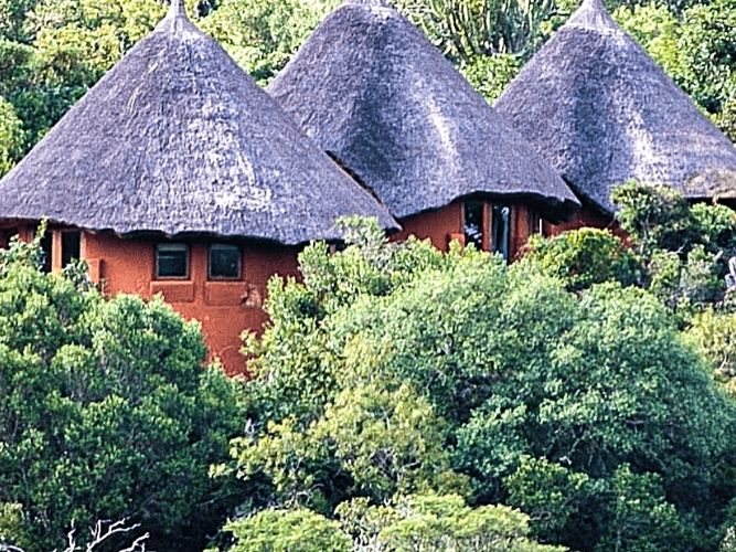 Thatched mud huts of a Unique Eco Village in South Africa