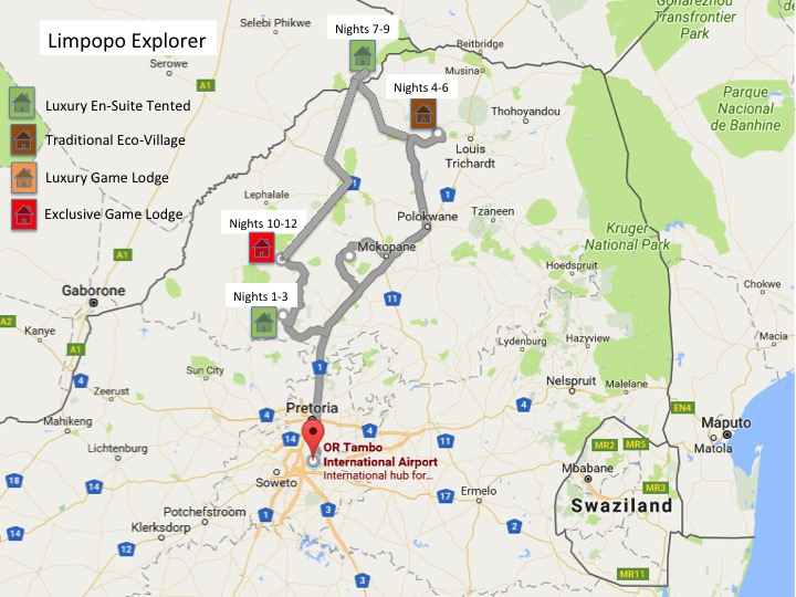Limpopo Explorer Safari Map