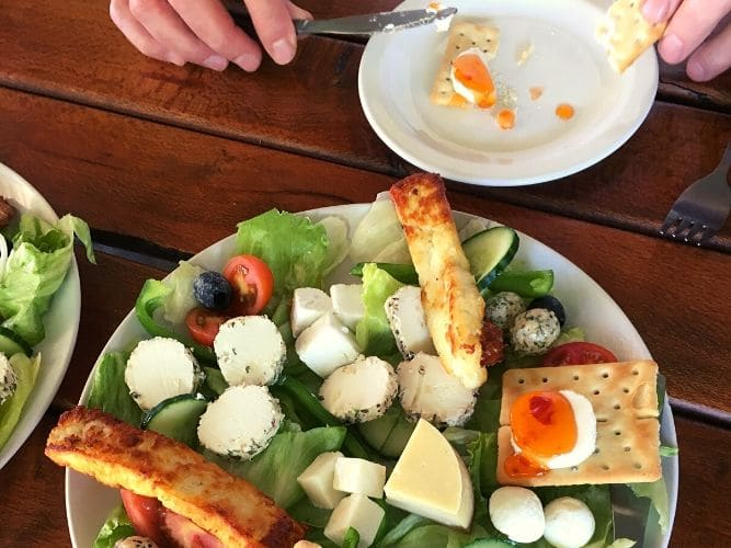 A plate full of lovely farm freshly made cheeses - An Alexandra's Africa Safari Cheese Lunch