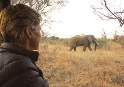 Close up of Alexandra's Africa guest on game drive looking at an elephant in the distance