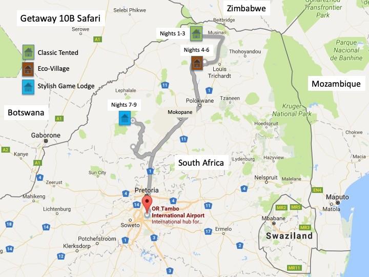 Getaway 10B Safari Route Map
