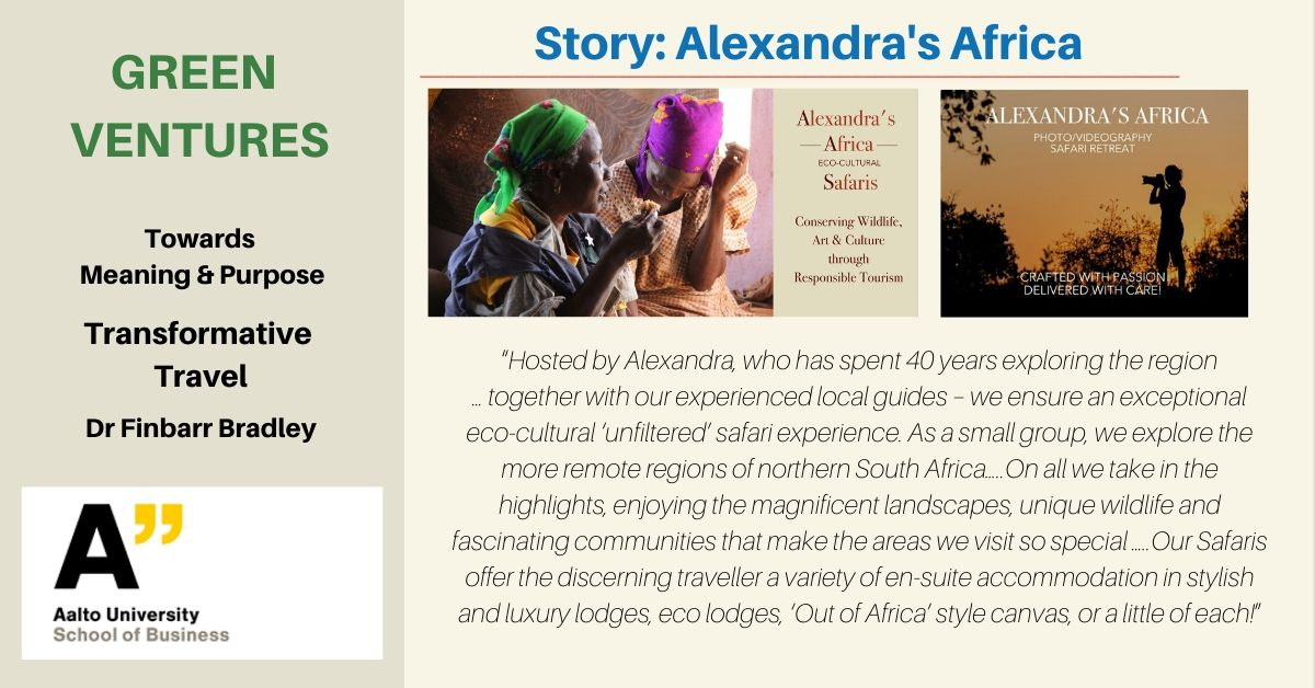 Small promotional flyer promoting Green Ventures course at Aalto University & Alexandra's Africa Case Study