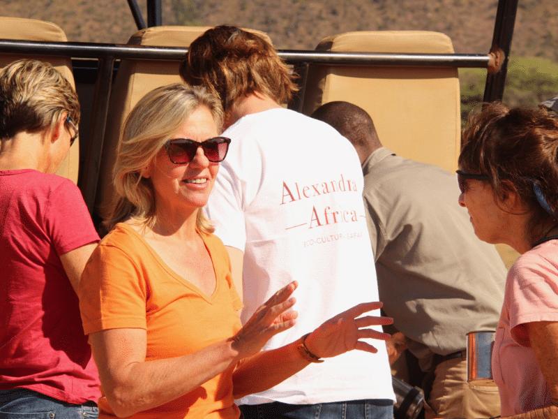 Alexandra with guests on Alexandra's Africa Safari