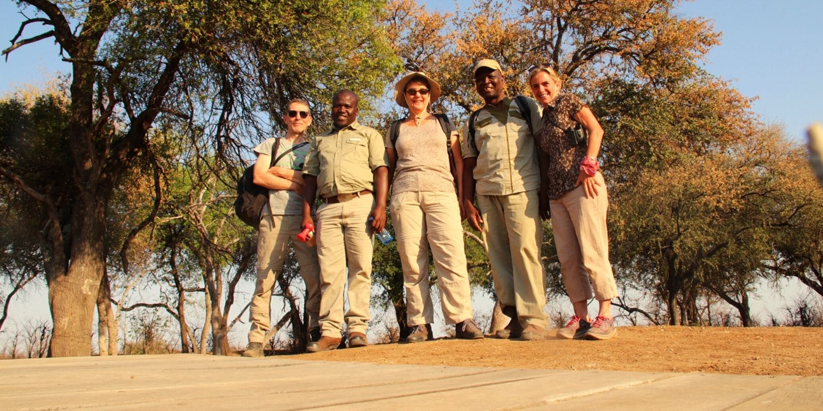 Alexandra's Africa guests with Alexandra - about to head on a Game Walk in Tuli, Botswana