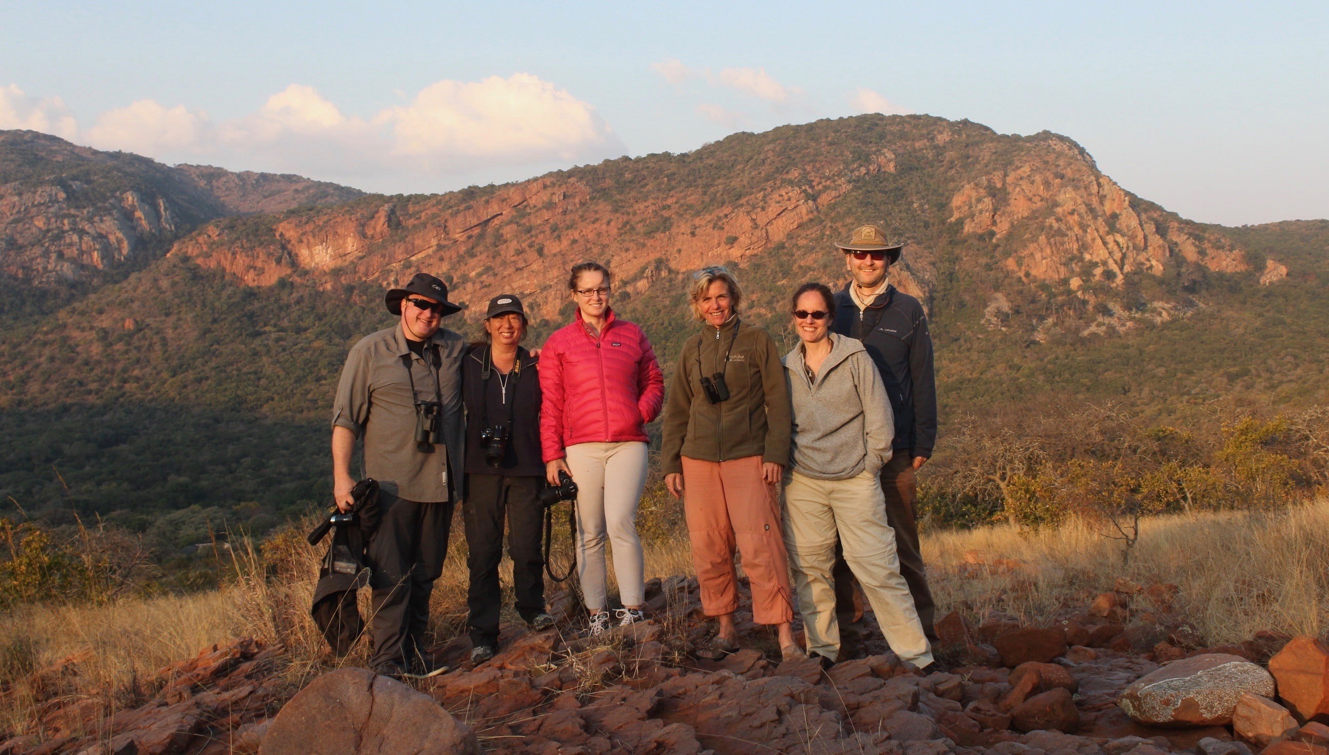 Alexandra's Africa Guests with Alexandra enjoying Sun Down on Soutpansberg Mountains