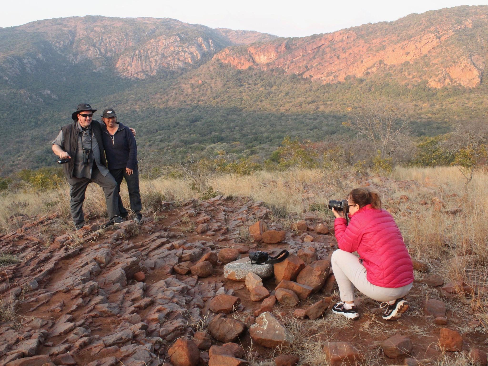 Safari guests having a photo taken
