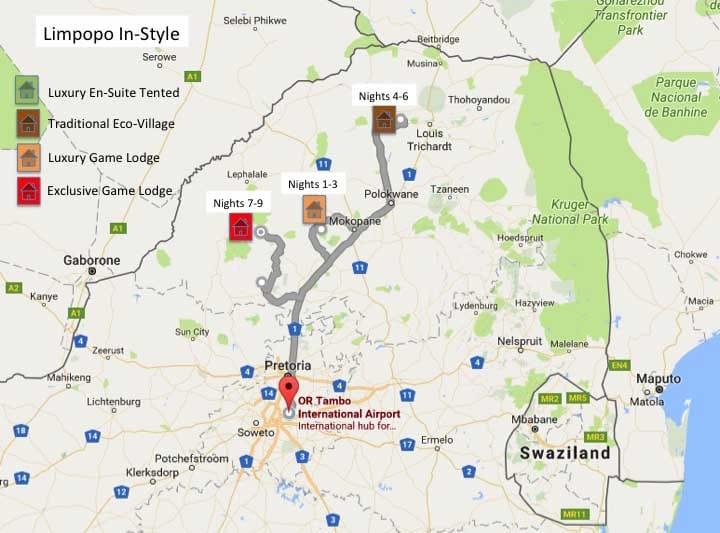 Limpopo In-Style Safari Map