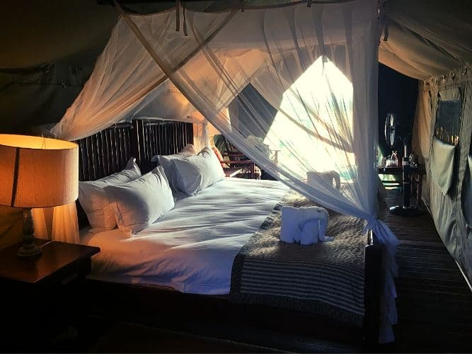 Looking inside luxury tent on Alexandra's Africa Classic Safari - big double bed inside, with bedside lamps and mosquito net over the bed