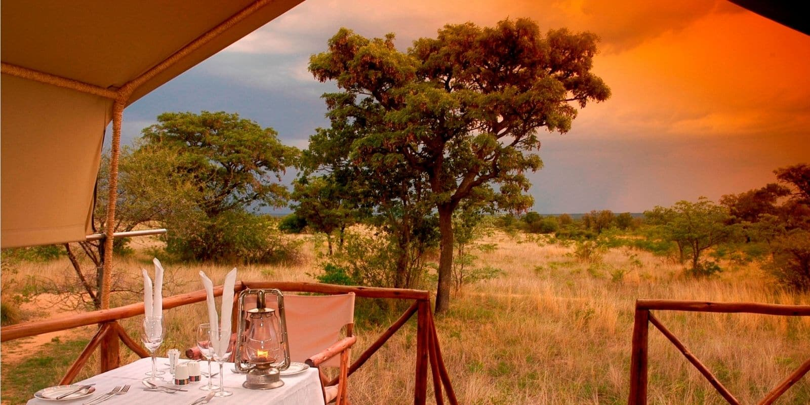 Dinner table overlooking African sunset