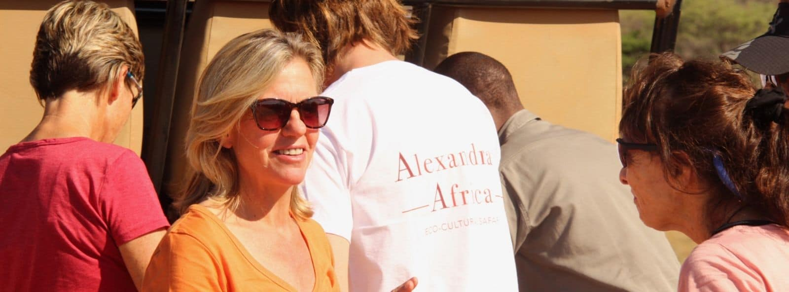 Alexandra with a group on a hosted Safari