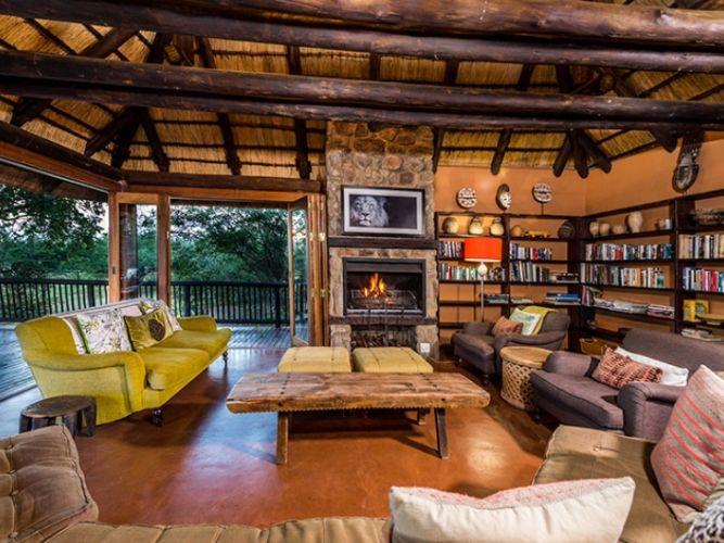 Safari Lodge Living Room with log fire