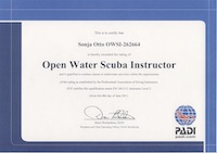 Sonja Otto Open Water SCUBA instructors certificate