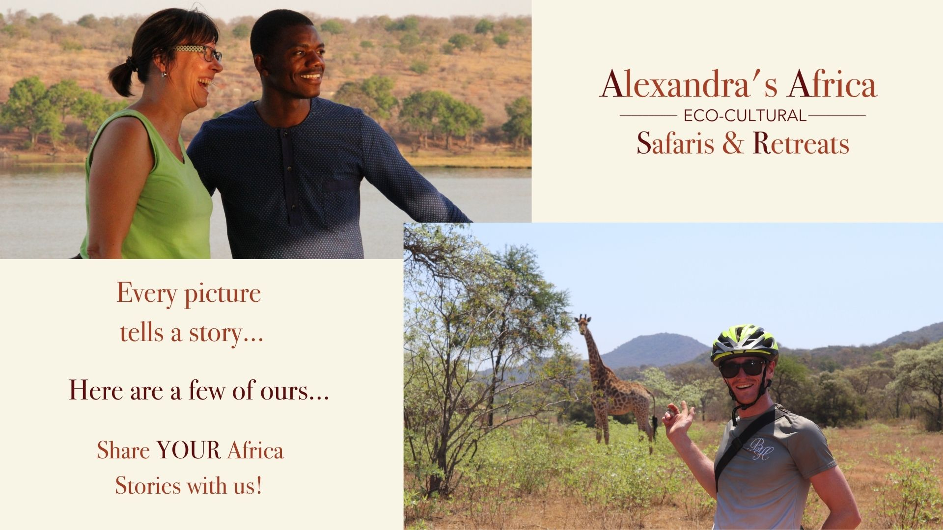 Alexandras Africa logo and pictures of guests enjoying Bushveld experiences