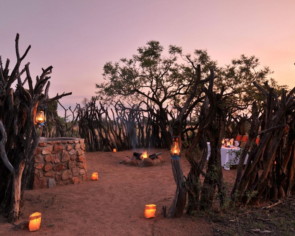 Candle lit outdoor dining amongst trees at sunset