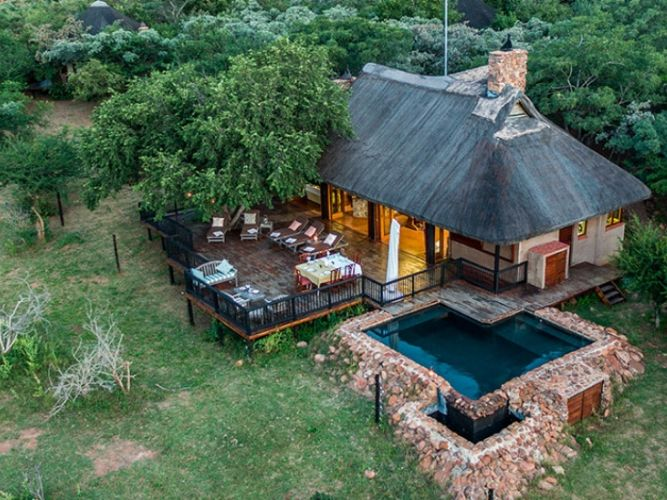 An overhead photo from a drone of one of our Alexandra's Africa lodges on the Getaway Safari