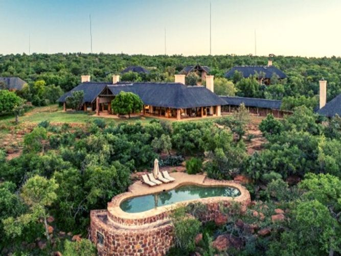 An aerial view of our luxury lodge on our In Style and Explorer Safaris