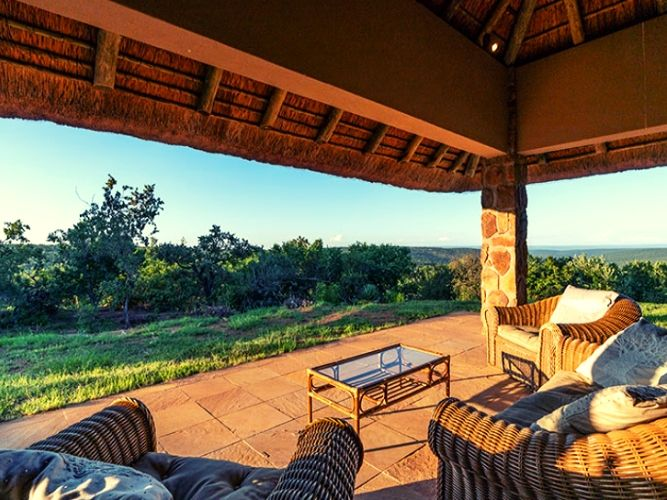 Looking out over terrace of main guest lodge out over bushveld