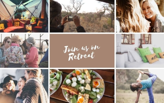 Collage of Pictures illustrate activies on Alexandra's Africa Retreat