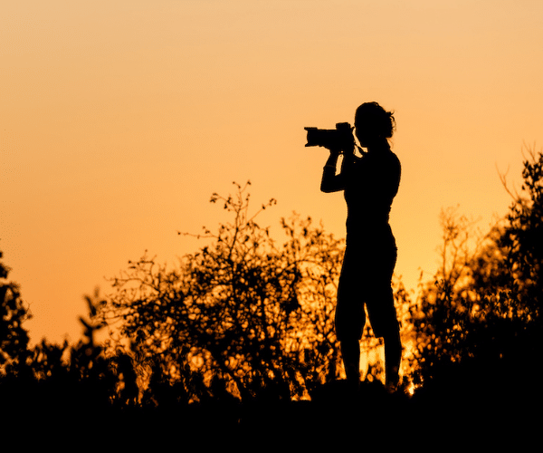 Sundown in Africa - Silhouette of a female photograph taking a picture with amber sky background